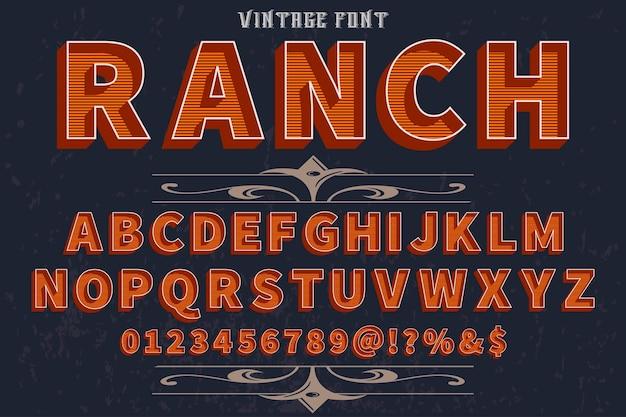 Retro alphabet label design ranch Premium Vector