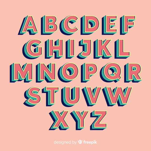 Retro Alphabet Template Retro Style Free Vector
