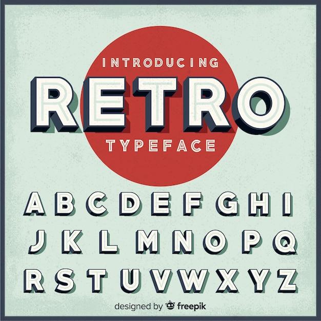 Retro alphabet Free Vector