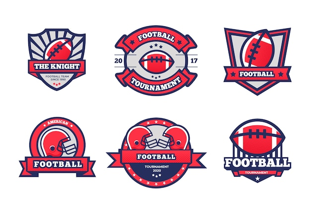 Retro american football badges concept Free Vector