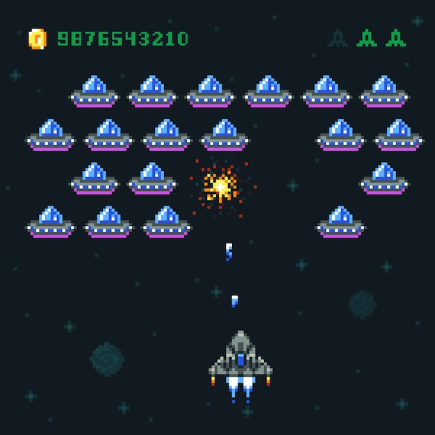 Premium Vector | Retro arcade game screen with pixel invaders and  spaceship. space war computer 8 bit old vector graphics. game video arcade,  spaceship and rocket digital pixel illustration