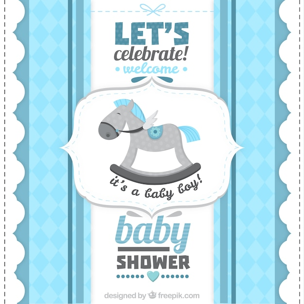 Retro Baby Shower Card For A Boy Premium Vector