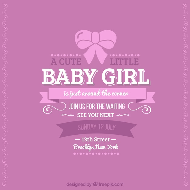 retro baby shower card for girl vector  free download, Baby shower invitation