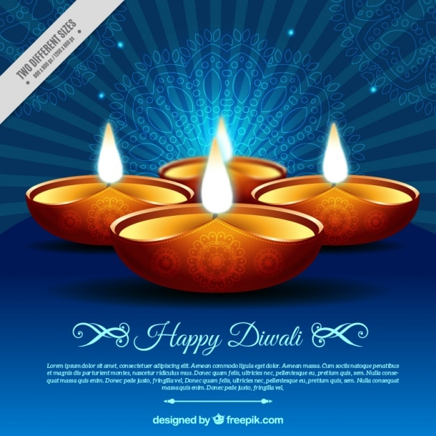 Retro background diwali of candles Free Vector