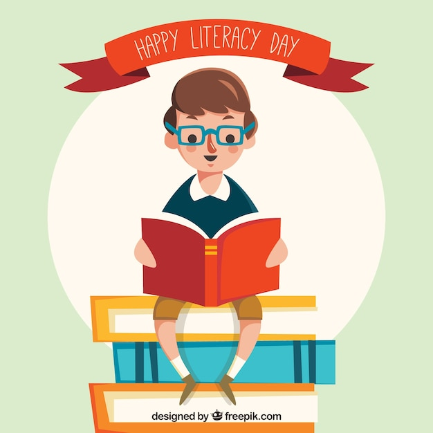Retro background of boy reading a book Free Vector