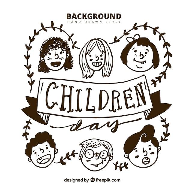 retro background of children sketches