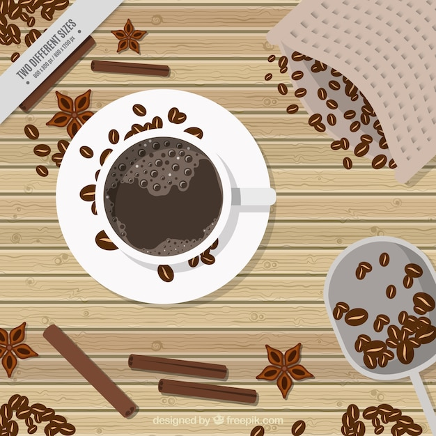 Retro background of coffee and coffee beans in\ top view