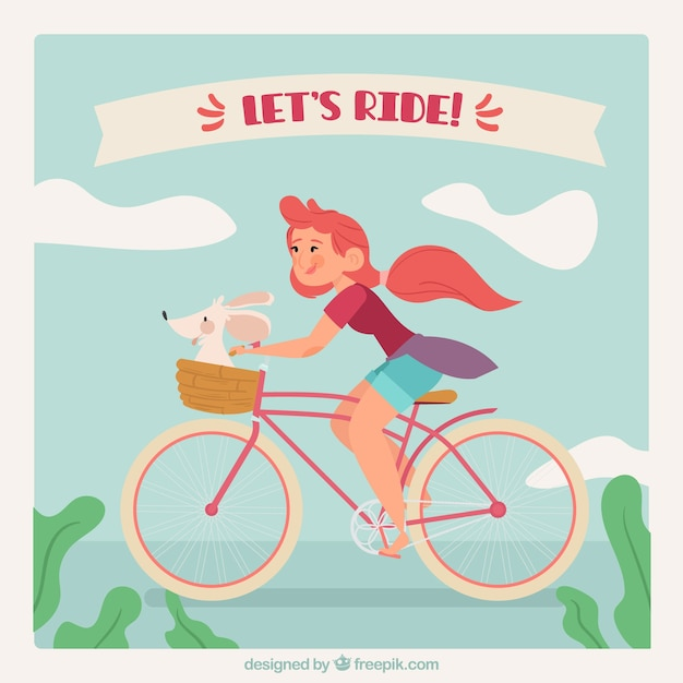 Retro background of girl on bicycle with her\ pet