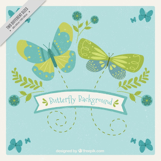 Retro background of green and blue butterflies