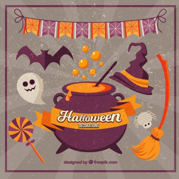 retro background of halloween decorations free vector - Free Halloween Decorations