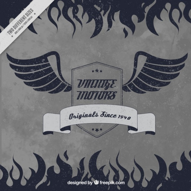 Retro background of motorcycle badge with wings\ and flames