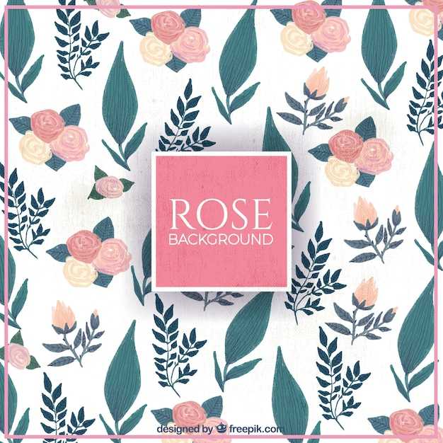 Retro background of roses and leaves