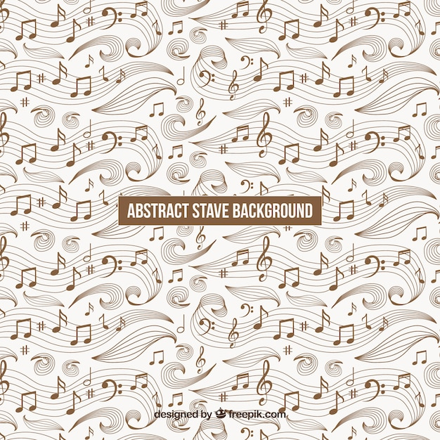 Retro Background Of Staves And Hand Drawn Musical Notes Vector