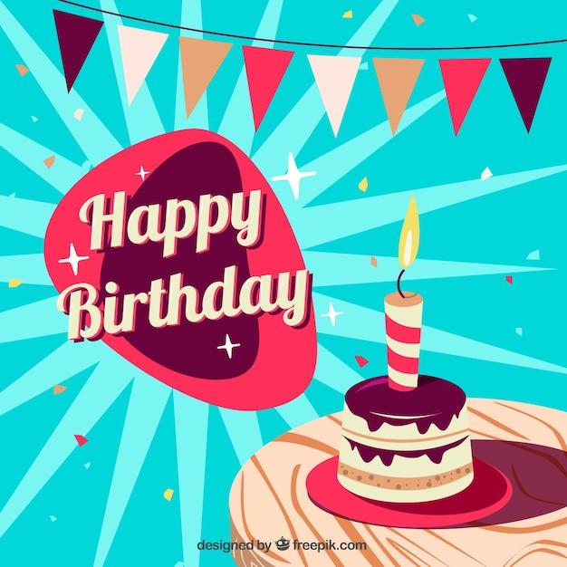 Retro background with birthday cake Free Vector