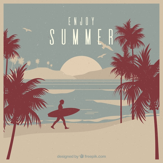 Retro background with surfer and palm trees Free Vector