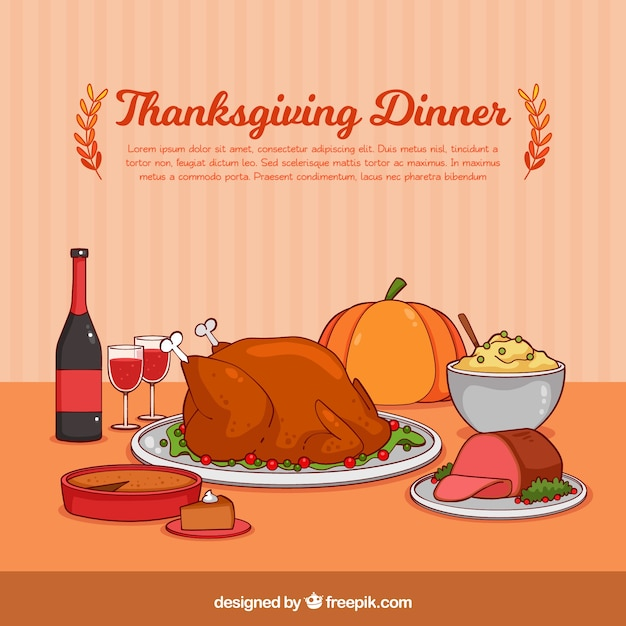 Retro Background With Tasty Thanksgiving Dinner Free Vector