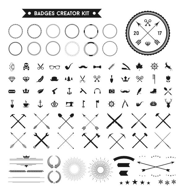 Retro badges logo design element vector set Premium Vector