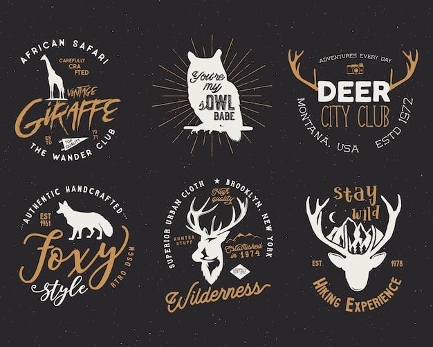 Retro badges set with wild animals Premium Vector