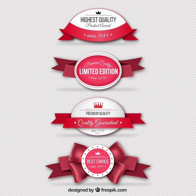 Retro badges with red ribbons Free Vector