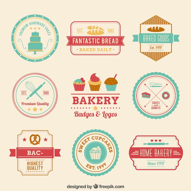 Retro bakery badges Free Vector
