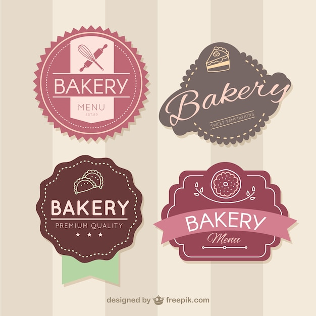 Retro bakery badges Premium Vector