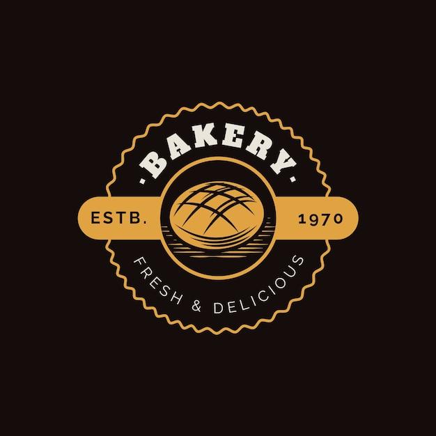 レトロなベーカリーケーキのロゴ 無料ベクター