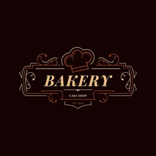 Концепция логотипа ретро пекарня Premium векторы