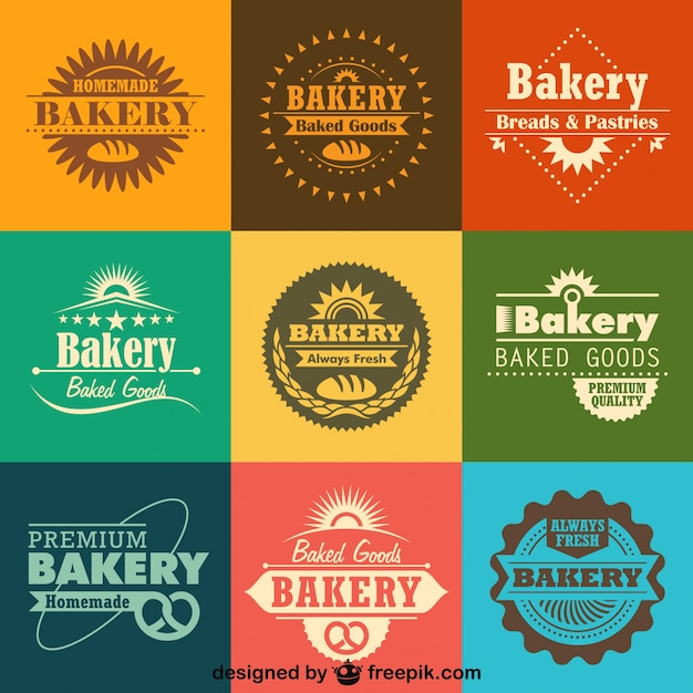 Retro bakery logos and badges collection Premium Vector