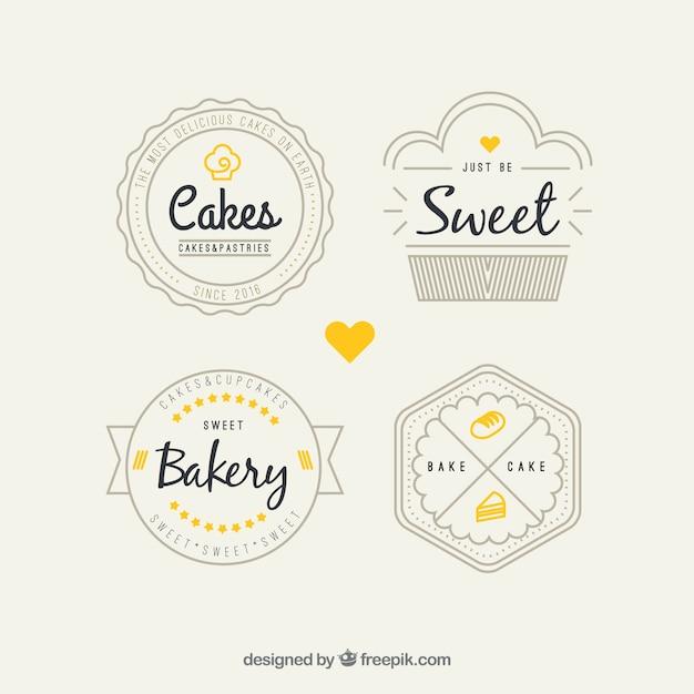 Retro bakery logos pack Premium Vector