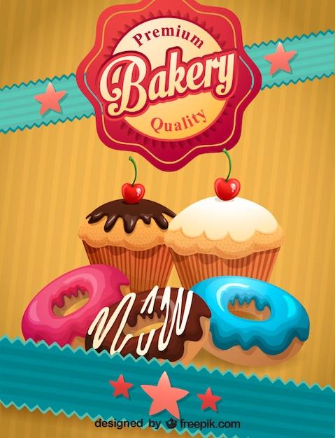 Retro bakery poster Free Vector