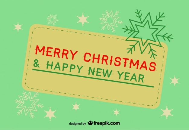 retro banner of merry christmas and a happy new year free vector