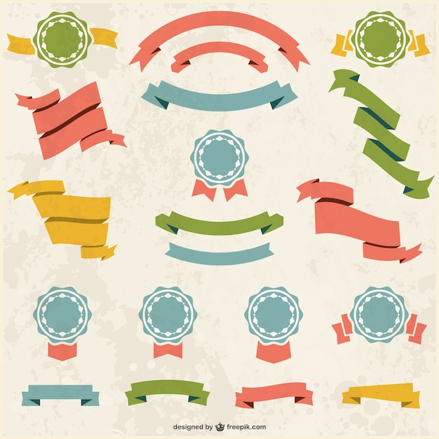 Retro banners badges set Vector | Free Download