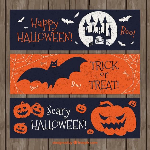 Retro banners to celebrate halloween Free Vector
