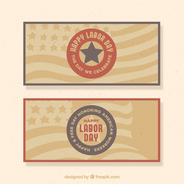 Retro banners of american labor day\ banners