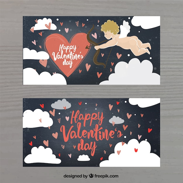 Retro banners of cupid and clouds drawings