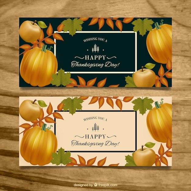 Retro banners of thanksgiving pumpkins with leaves Free Vector