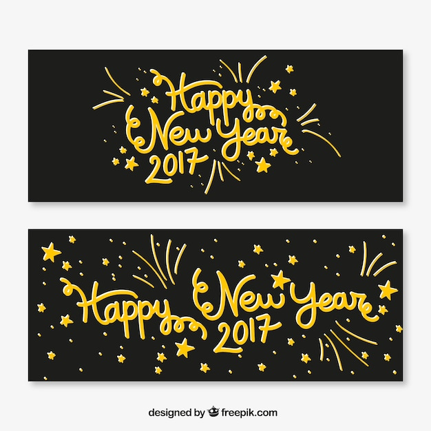 Retro banners with golden lettering of happy\ new year
