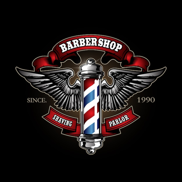 Retro barber pole logo Premium Vector