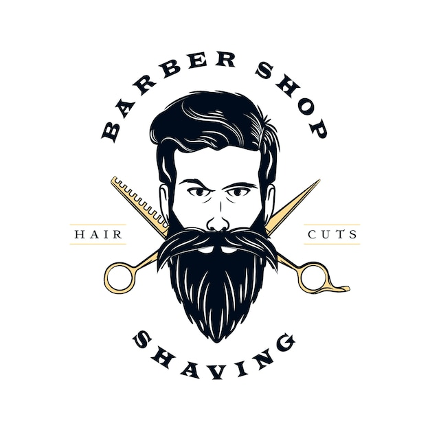 Retro barber shop logo Premium Vector