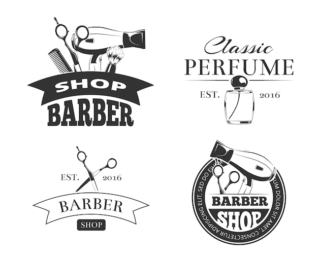 Retro barber shop vector emblem or logo Premium Vector