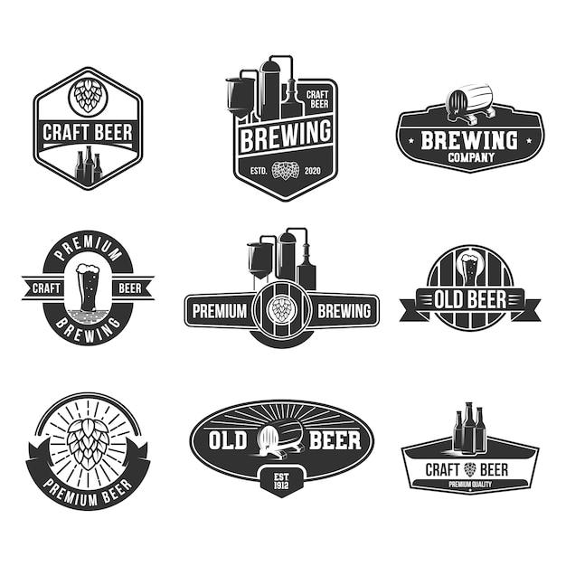 Набор плоских значков для пива Бесплатные векторы