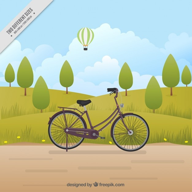 Retro bicycle in a landscape with trees\ background