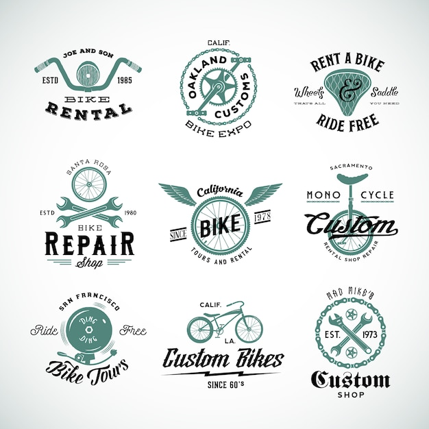 Retro bicycle   labels or logo templates set Premium Vector