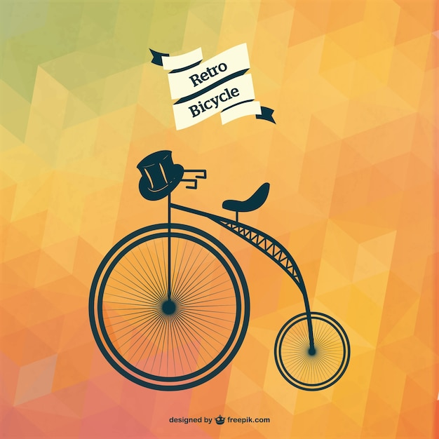 Retro bicycle with black hat and polygonal\ background