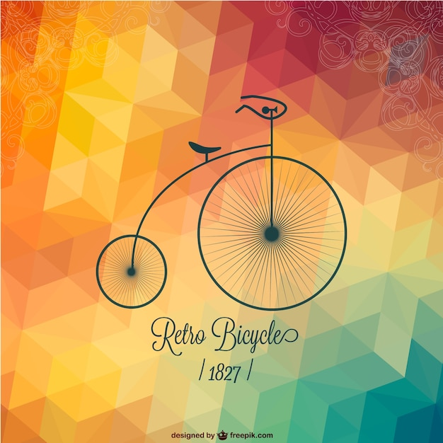 Retro bicycle with polygonal background vector free download for Imagenes retro vintage
