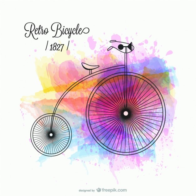 Retro bicycle with watercolor stains Free Vector