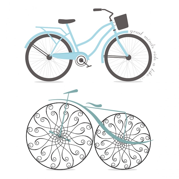 Retro Bicycles Premium Vector