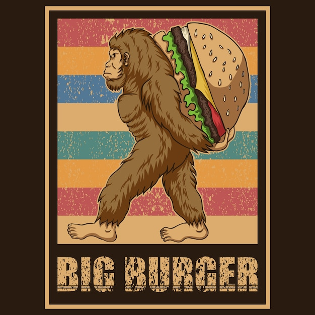 Retro bigfoot burger vector illustration Premium Vector