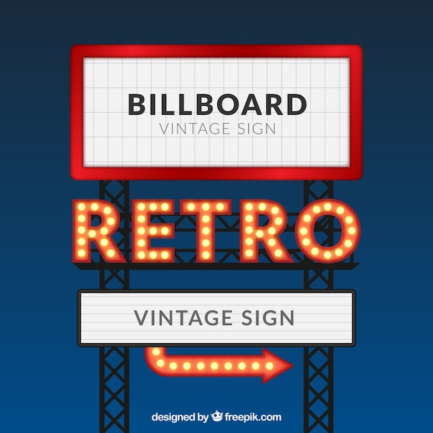 retro billboard template Free Vector