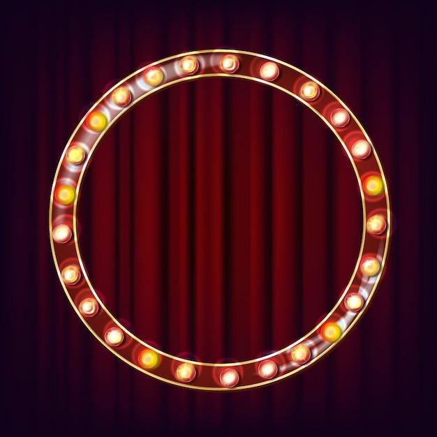 Retro billboard vector. shining light sign board. realistic shine lamp frame. glowing element. vintage neon light. circus, casino style. illustration Premium Vector